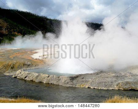 Geyser in eruption in Black sand basin (Yellowstone, Wyoming, USA)