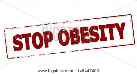 Rubber stamp with text stop obesity inside vector illustration