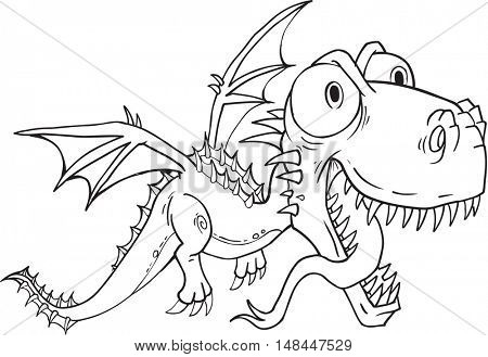 Dragon Monster Doodle Vector Illustration Art