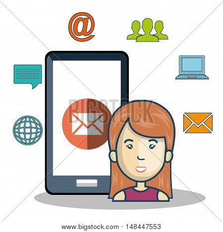 cartoon woman smartphone icons media connection graphic vector illustration eps 10