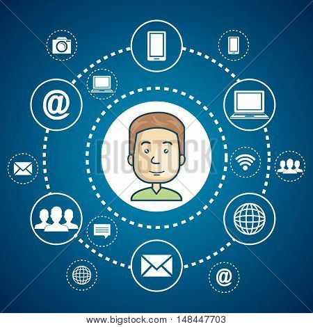 cartoon guy internet communication media web graphic vector illustration eps 10