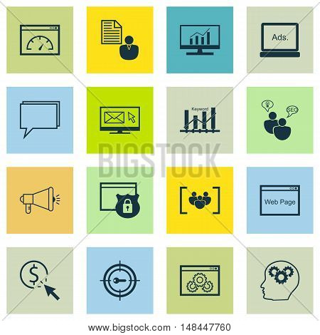 Set Of Seo, Marketing And Advertising Icons On Comprehensive Analytics, Creativity, Viral Marketing