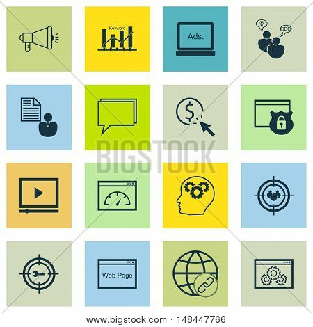 Set Of Seo, Marketing And Advertising Icons On Website Protection, Video Advertising, Web Page And M