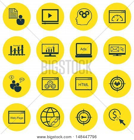 Set Of Seo, Marketing And Advertising Icons On Display Advertising, Seo Consulting, Page Speed And M