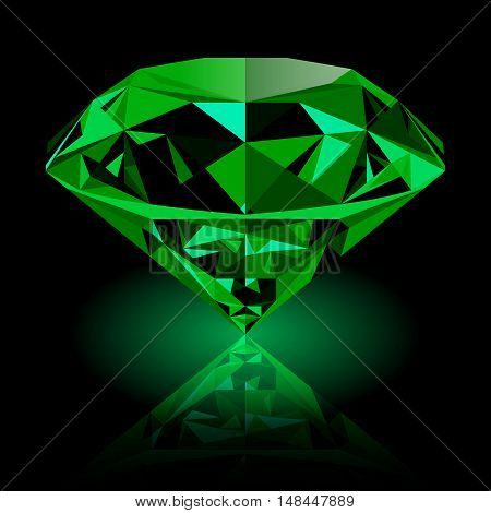 Realistic shining green emerald jewel with reflection and green glow isolated on black background. Colorful gemstone that can be used as part of logo icon web decor or other design.