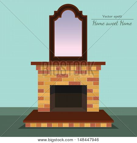 Vector fireplace with home sweet home ahd antique mirror with format eps10.