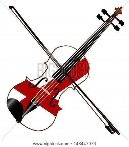 A typical violin with Alabama state flag and bow isolated over a white background
