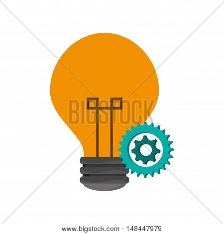 flat design lightbulb and gears  icon vector illustration
