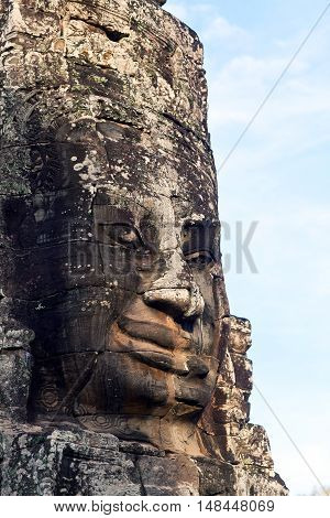 Ancient bas-relief at the Upper terrace of Prasat Bayon temple (late 12th - early 13th century) in Angkor Thom, Cambodia.