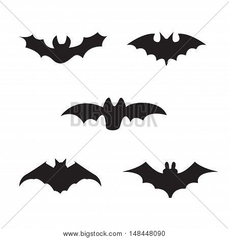 Halloween black silhouettes of bats, vector elements