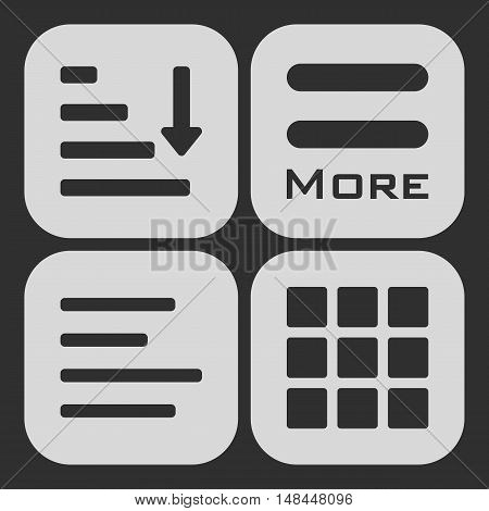 Hamburger menu icons set. Vector white symbols collection on black background.