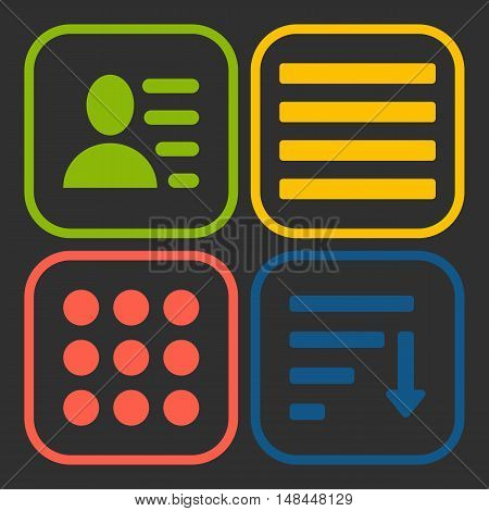 Hamburger menu icons set. Vector green yellow red and blue symbols collection on black background.
