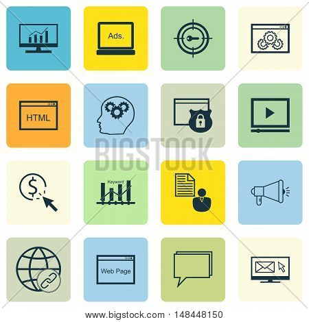 Set Of Seo, Marketing And Advertising Icons On Display Advertising, Client Brief, Html Code And More