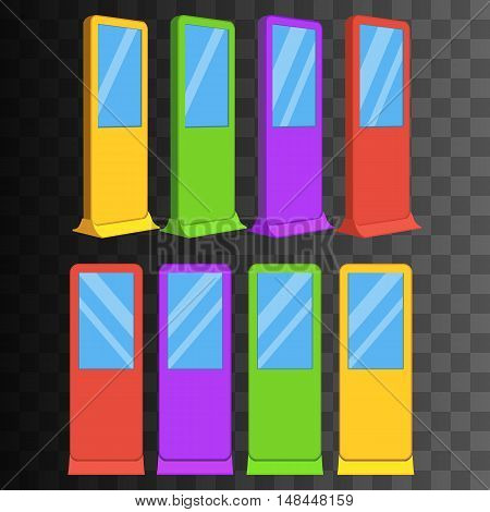 LCD Screen Floor Stand. Color Trade Show Booths with different angles. Vector illustration of kiosk machines on black transparent background. Ad template for your expo design with ribbon banner text.