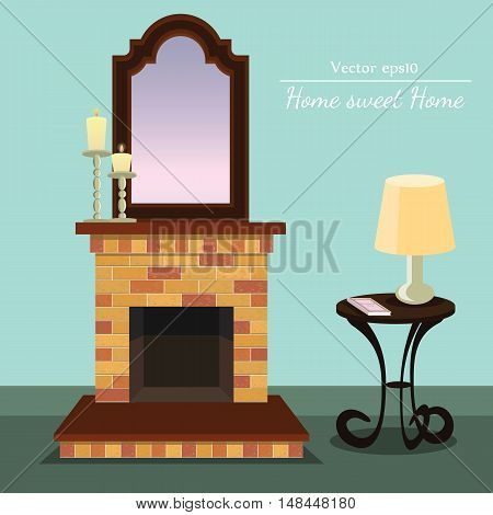 Vector fireplace with Home sweet home with coffee table with format eps10.