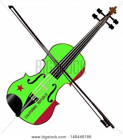 A typical violin with California state flag and bow isolated over a white background