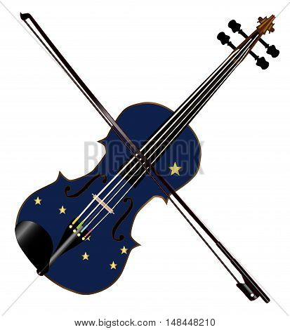 A typical violin with Alaska state flag and bow isolated over a white background