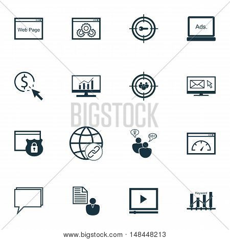 Set Of Seo, Marketing And Advertising Icons On Comprehensive Analytics, Web Page, Link Building And