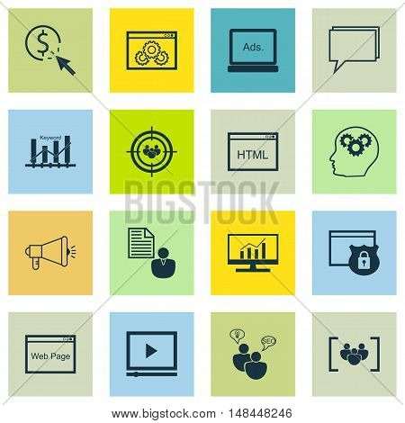 Set Of Seo, Marketing And Advertising Icons On Viral Marketing, Online Consulting, Focus Group And M