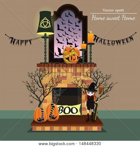 Vector fireplace with halloween style with format eps10.
