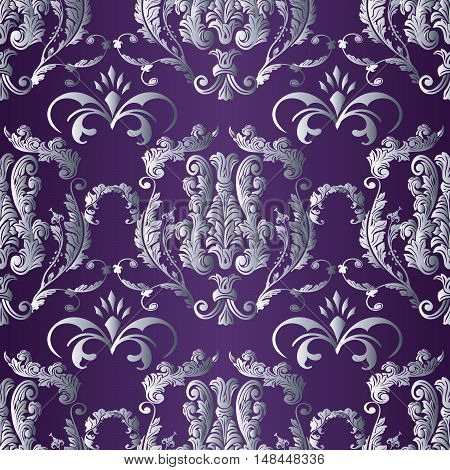 Baroque damask purple violet medieval floral vector seamless pattern background  llustration with vintage antique decorative baroque silver 3d flowers leaves ornaments