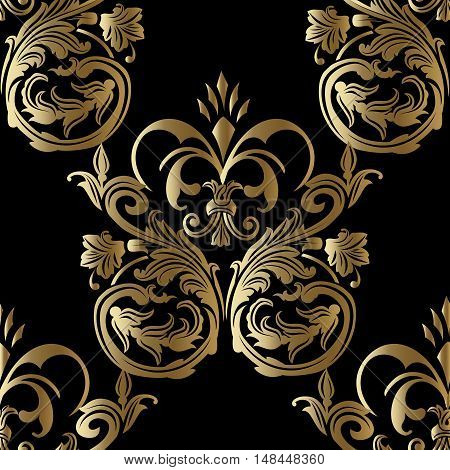 Baroque damask royal luxury black medieval floral vector seamless pattern background illustration with vintage antique decorative baroque gold 3d flowers leaves ornaments.