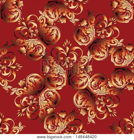 Baroque damask medieval floral vector seamless pattern background  illustration with vintage antique decorative baroque gold 3d flowers leaves ornaments. Bright red background