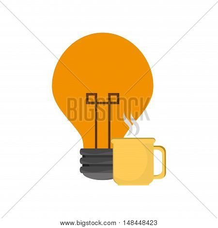 flat design lightbulb and mug  icon vector illustration