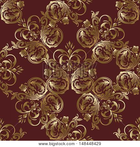Baroque damask luxury dark red medieval floral vector seamless pattern background  illustration with vintage antique decorative baroque gold 3d flowers leaves ornaments