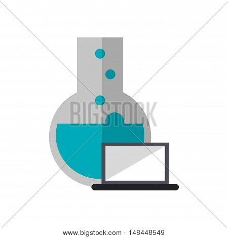 flat design round bottom chemistry flask and laptop  icon vector illustration