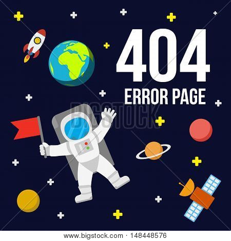 Universe 404 error page vector template for website. Outer space with astronaut planets and rocket. Page Not Found Error 404.