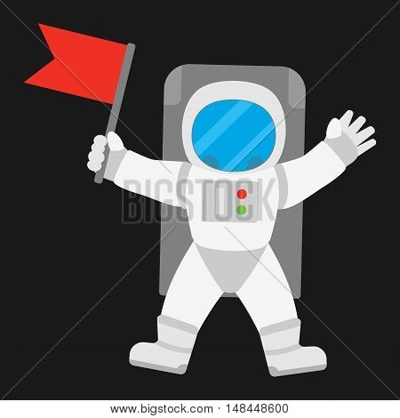 Spaceman astronaut in outer space holding red banner flag. Vector illustration on black background.