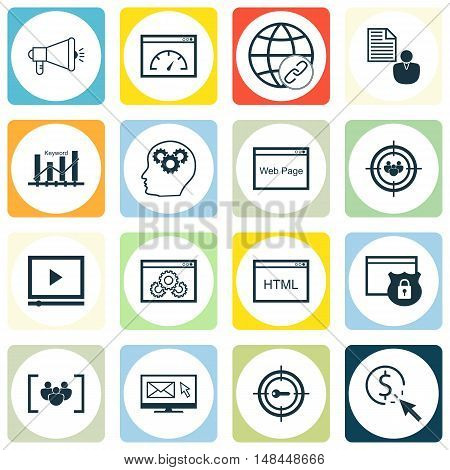 Set Of Seo, Marketing And Advertising Icons On Page Speed, Email Marketing, Web Page And More. Premi