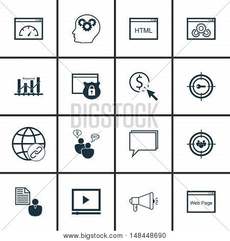 Set Of Seo, Marketing And Advertising Icons On Target Keywords, Audience Targeting, Online Consultin