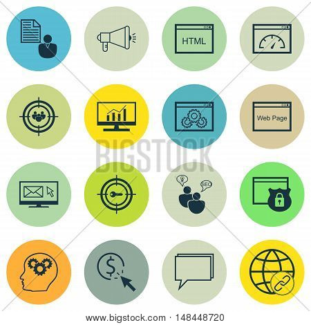 Set Of Seo, Marketing And Advertising Icons On Target Keywords, Website Optimization, Online Consult