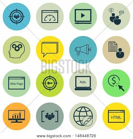 Set Of Seo, Marketing And Advertising Icons On Html Code, Online Consulting, Viral Marketing And Mor