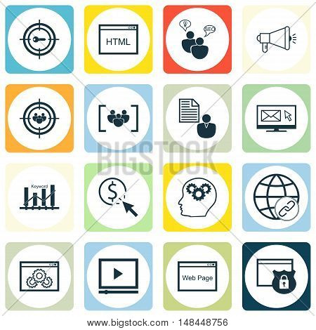 Set Of Seo, Marketing And Advertising Icons On Web Page, Email Marketing, Website Protection And Mor