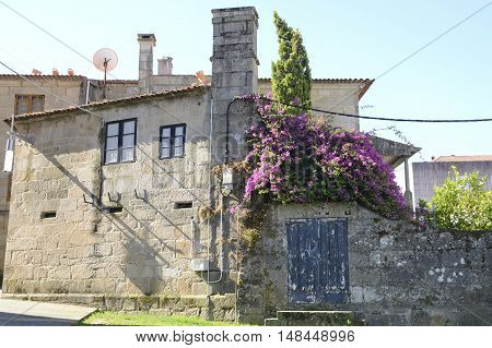 Traditional stone house in Pontevedra Galicia Spain