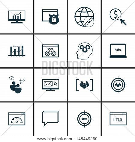 Set Of Seo, Marketing And Advertising Icons On Html Code, Pay Per Click, Comprehensive Analytics And