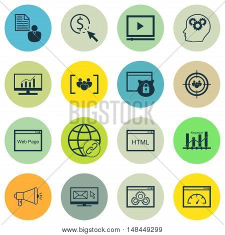 Set Of Seo, Marketing And Advertising Icons On Website Protection, Html Code, Link Building And More