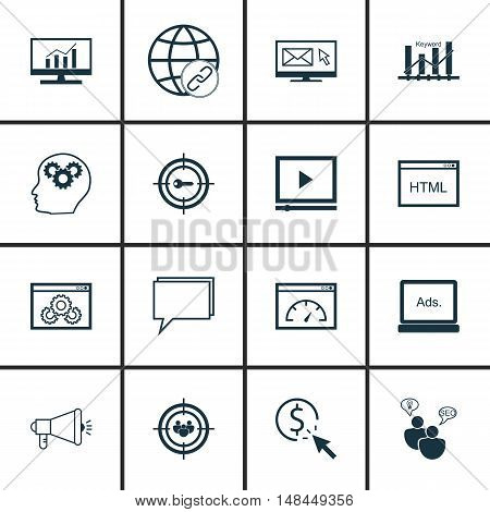 Set Of Seo, Marketing And Advertising Icons On Online Consulting, Page Speed, Comprehensive Analytic
