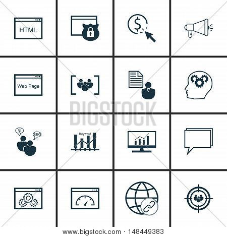 Set Of Seo, Marketing And Advertising Icons On Creativity, Website Optimization, Client Brief And Mo