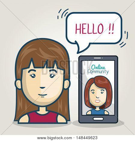 woman smartphone community online bubble speech graphic vector illustration eps 10