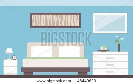 Modern bedroom interior with bed dresser bedside table and decorations
