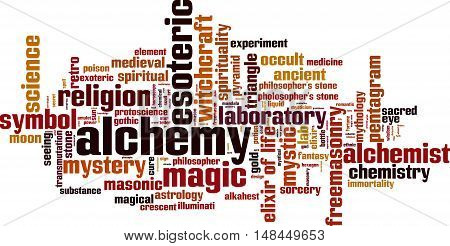 Alchemy word cloud concept. Vector illustration on white