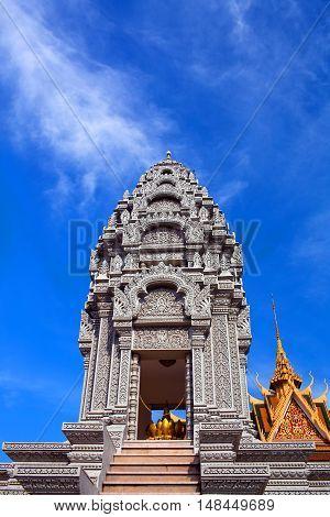 Sanctuary of Princess Norodom Kantha Bopha near Silver Pagoda in Phnom Penh, Cambodia.
