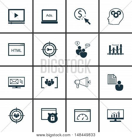 Set Of Seo, Marketing And Advertising Icons On Html Code, Seo Consulting, Focus Group And More. Prem
