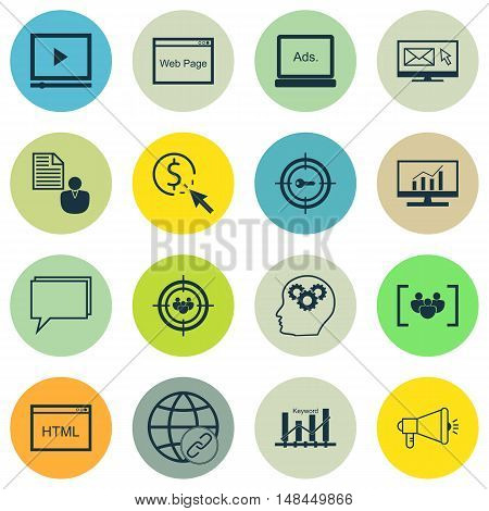 Set Of Seo, Marketing And Advertising Icons On Web Page, Keyword Ranking, Creativity And More. Premi