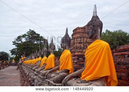 Buddha Statues At Wat Yai Chaimongkol In Ayutthaya, Thailand