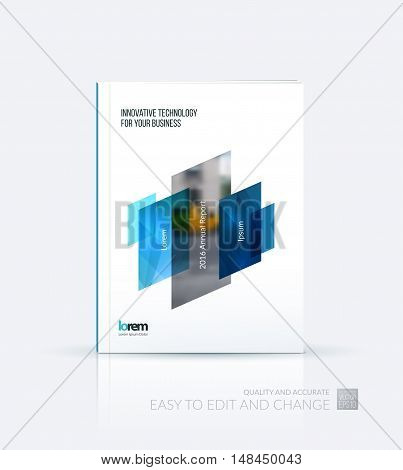 Brochure template layout, cover design annual report, magazine, flyer, leaflet in A4 with blue dynamic rectangle, triangles with overlap effect for business and technology. Creative artwork.